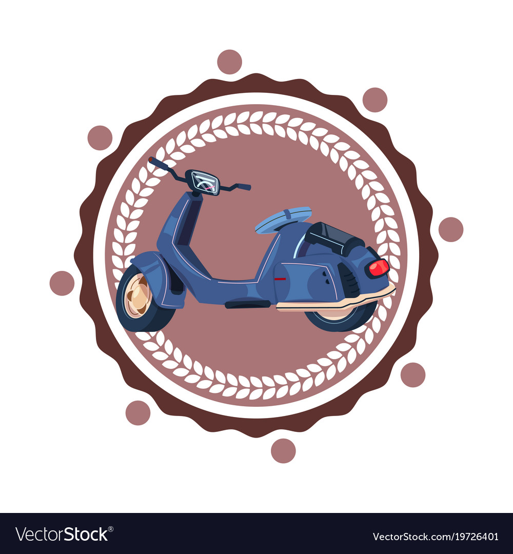 Retro sccoter motorcycle isolated icon vintage