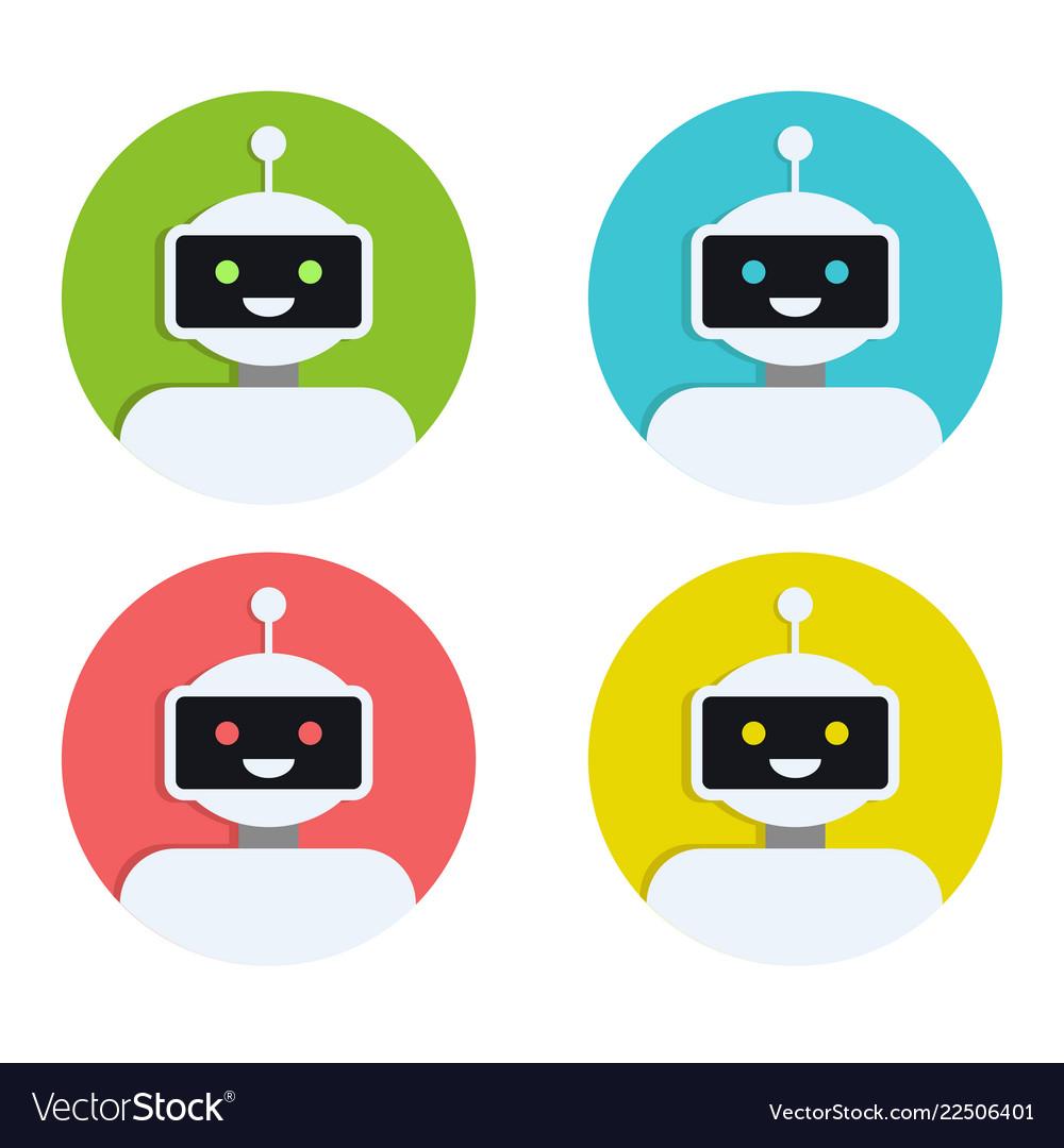 Robot icon set bot sign design chatbot symbol