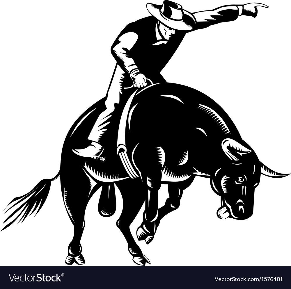 Rodeo cowboy bull riding retro Royalty Free Vector Image