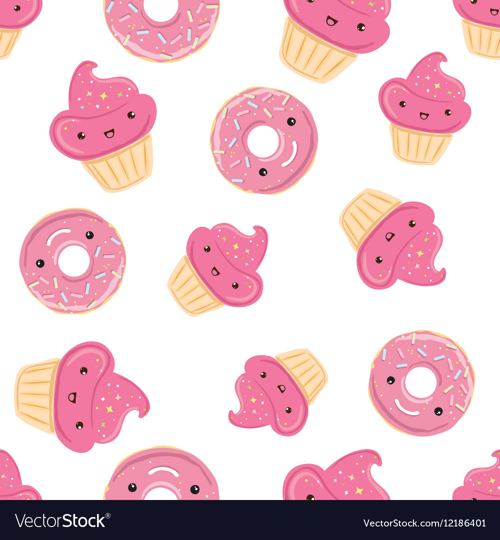 Seamless pattern with sweets - donuts cupcakes vector image