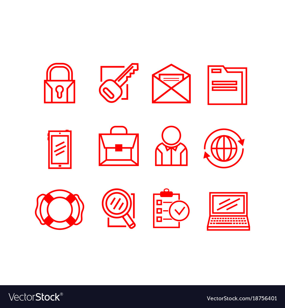 Set of business icons on a white background
