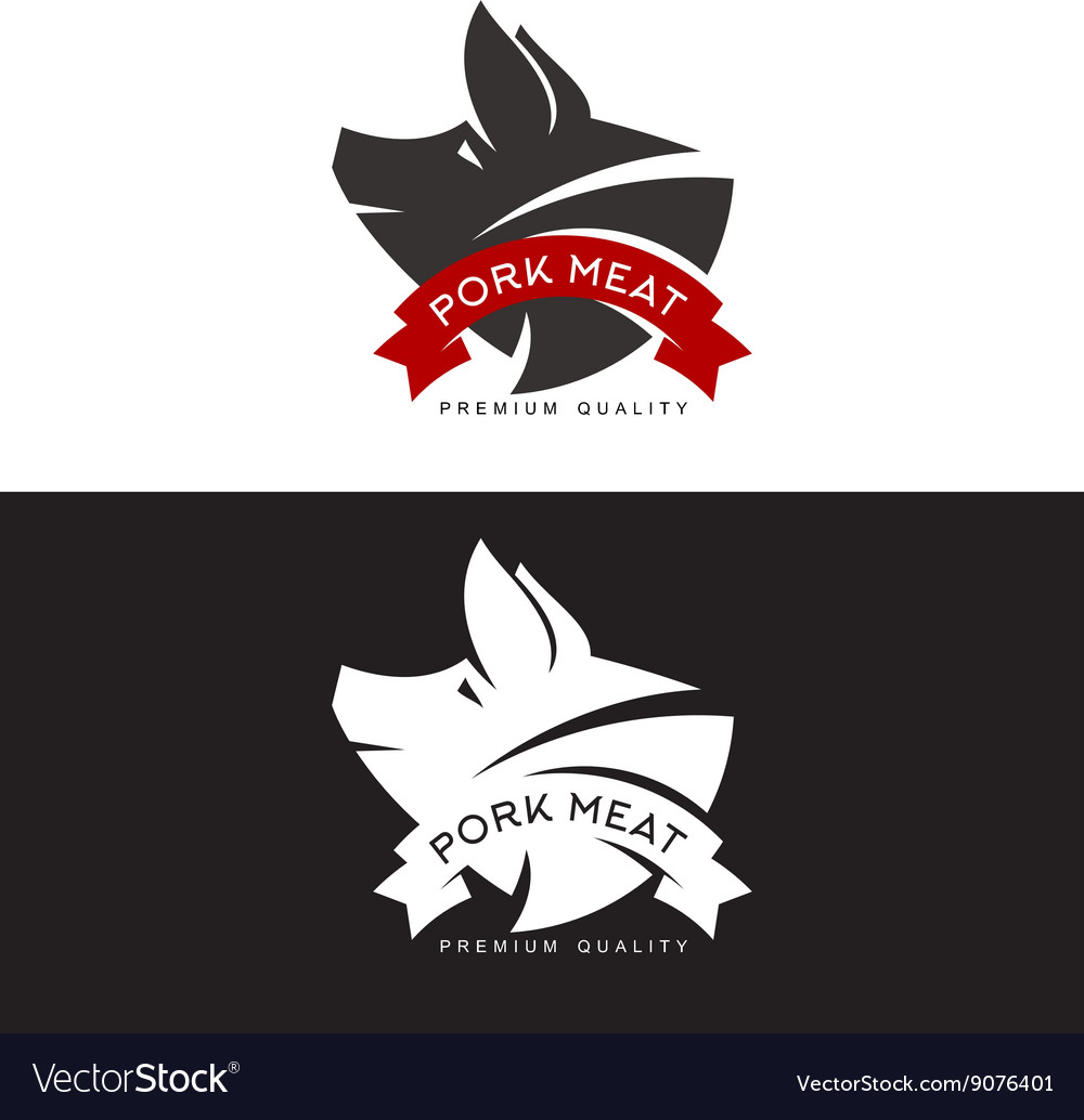 Set of logos with a pig vector image