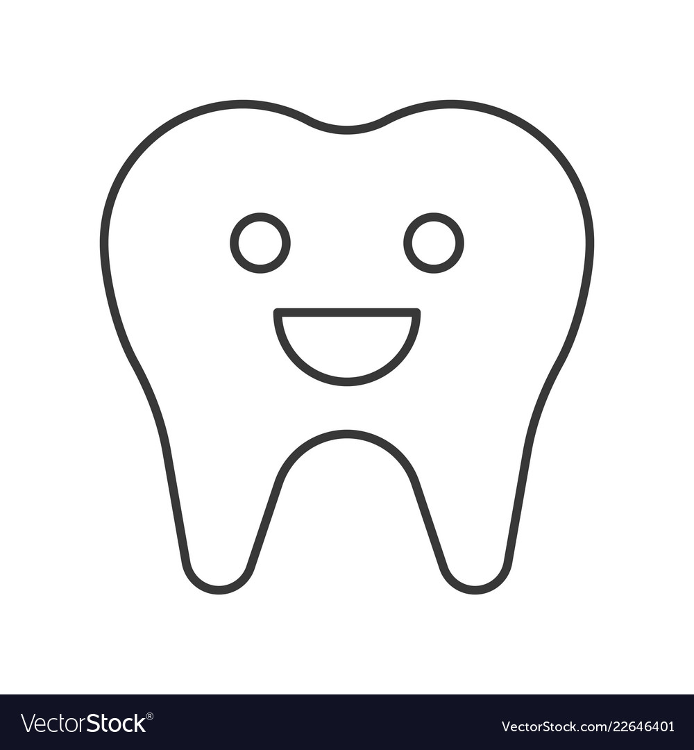 Tooth Smiling Cute Cartoon Outline Icon Dental Vector Image