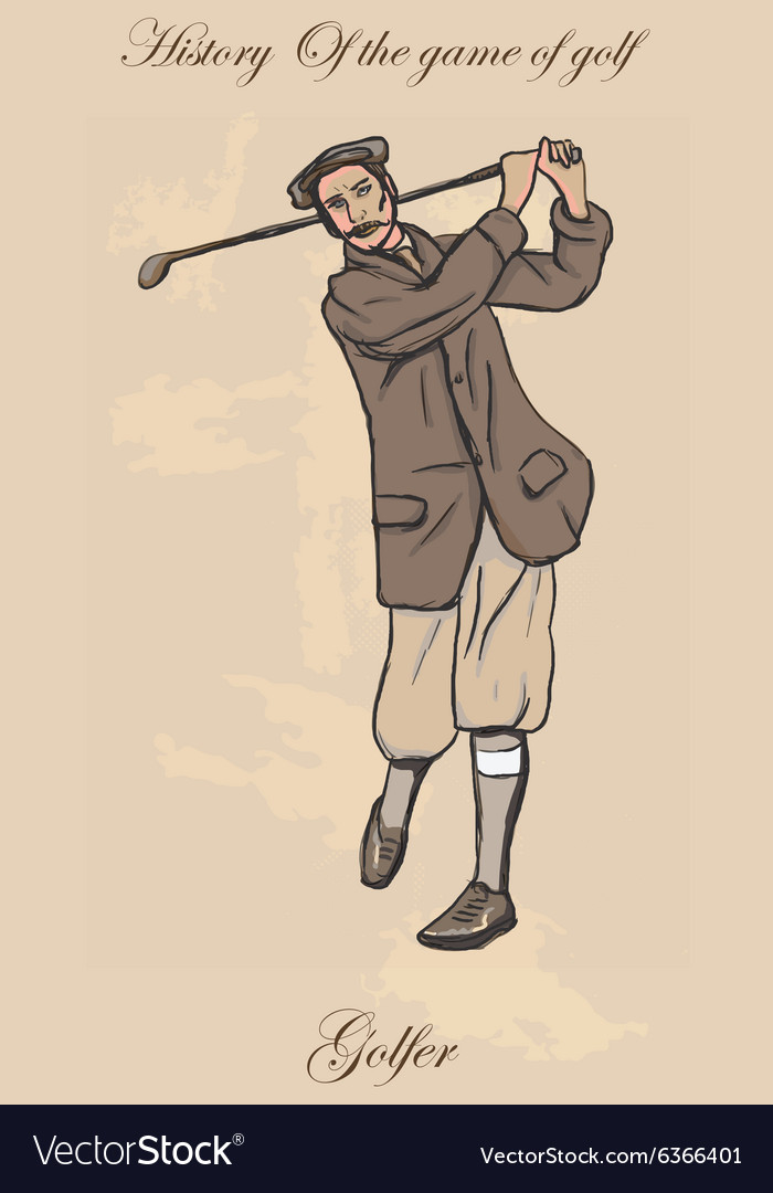 Vintage golf and golfers - freehand into