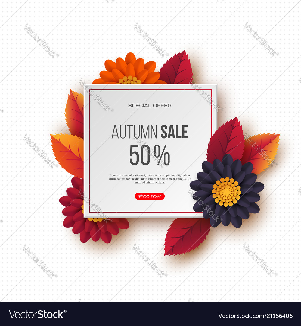 Autumn sale banner with 3d leaves flowers and