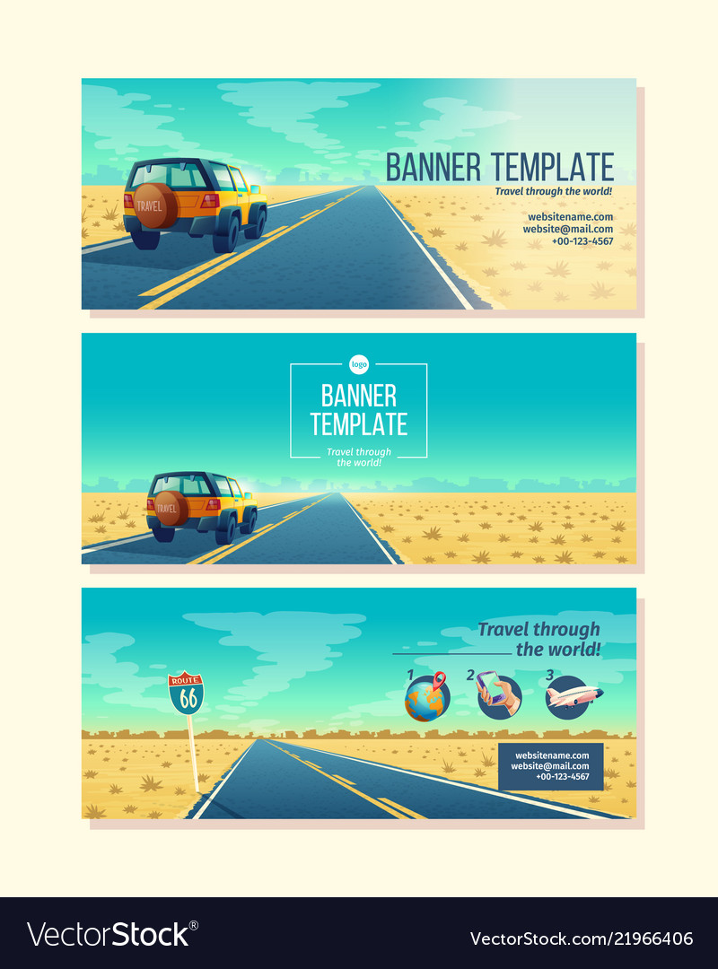 Banner template with tourist concept
