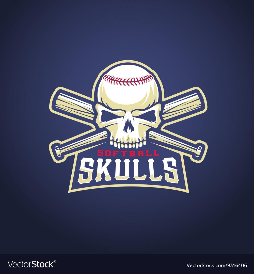 Baseball Team Logo Template Skull and Crossed