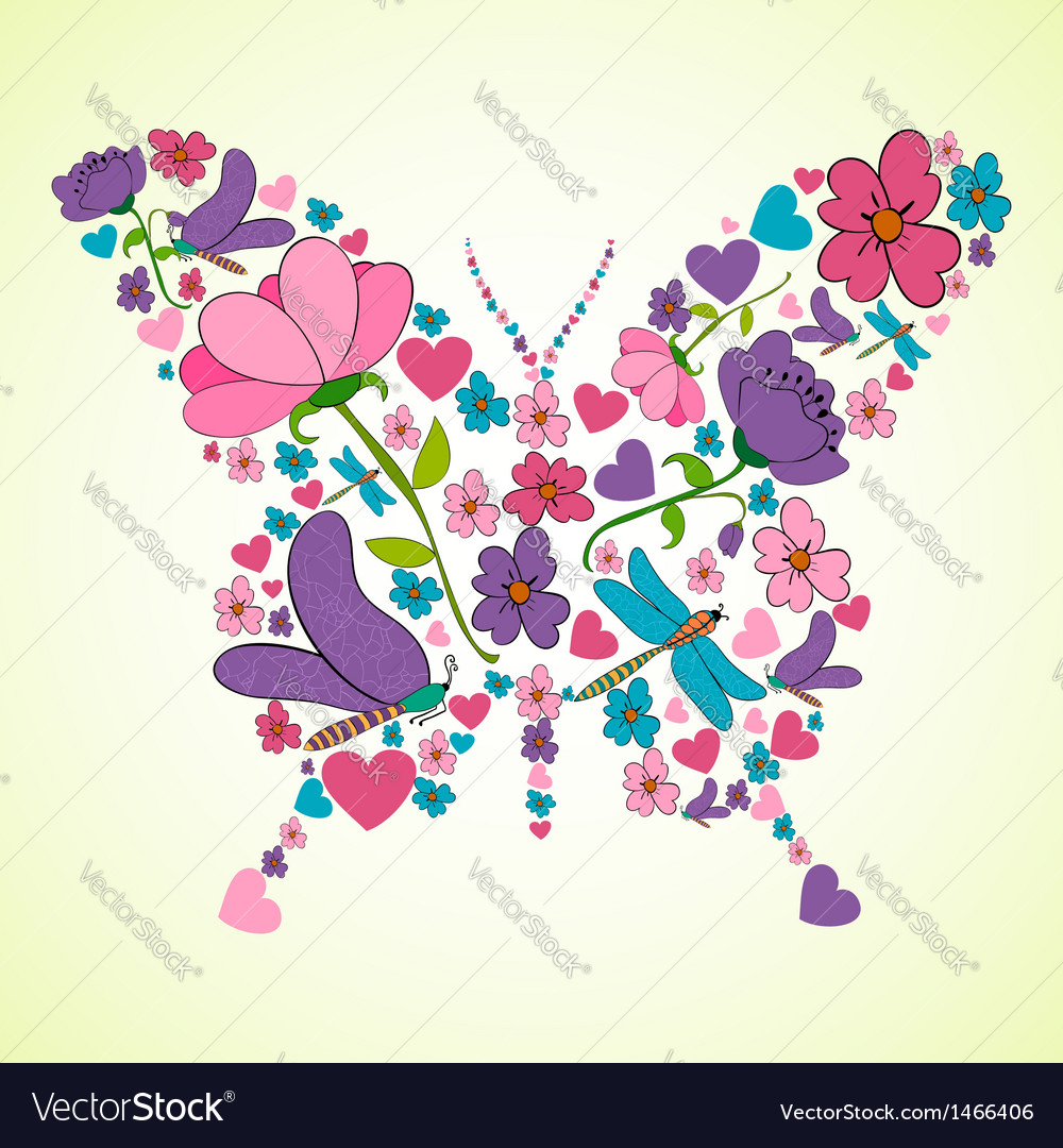 Beautiful Spring Flowers Butterfly Shape Vector Image