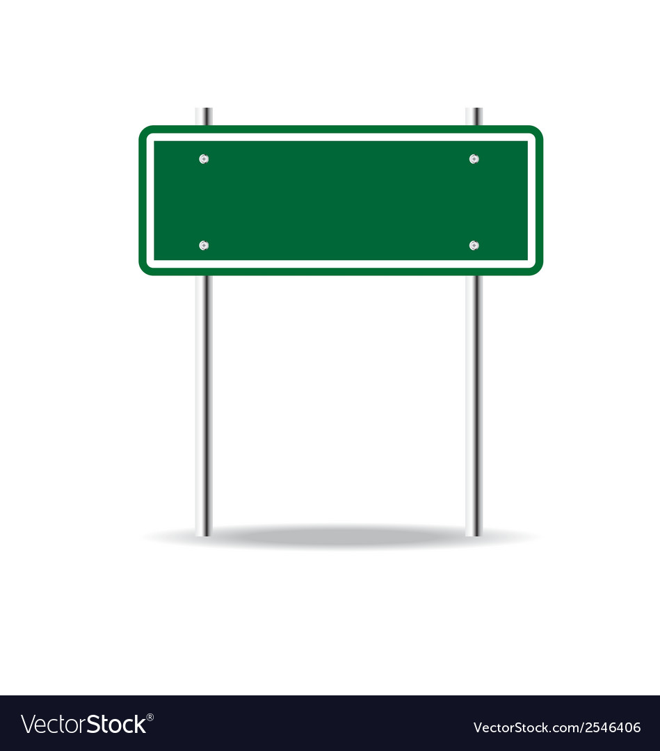 Blank green traffic road sign on white Royalty Free Vector