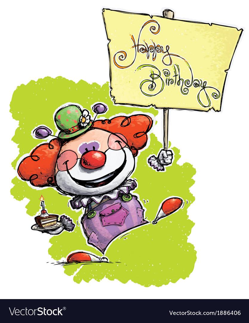 Clown Hoding a Happy Birthday Plackard