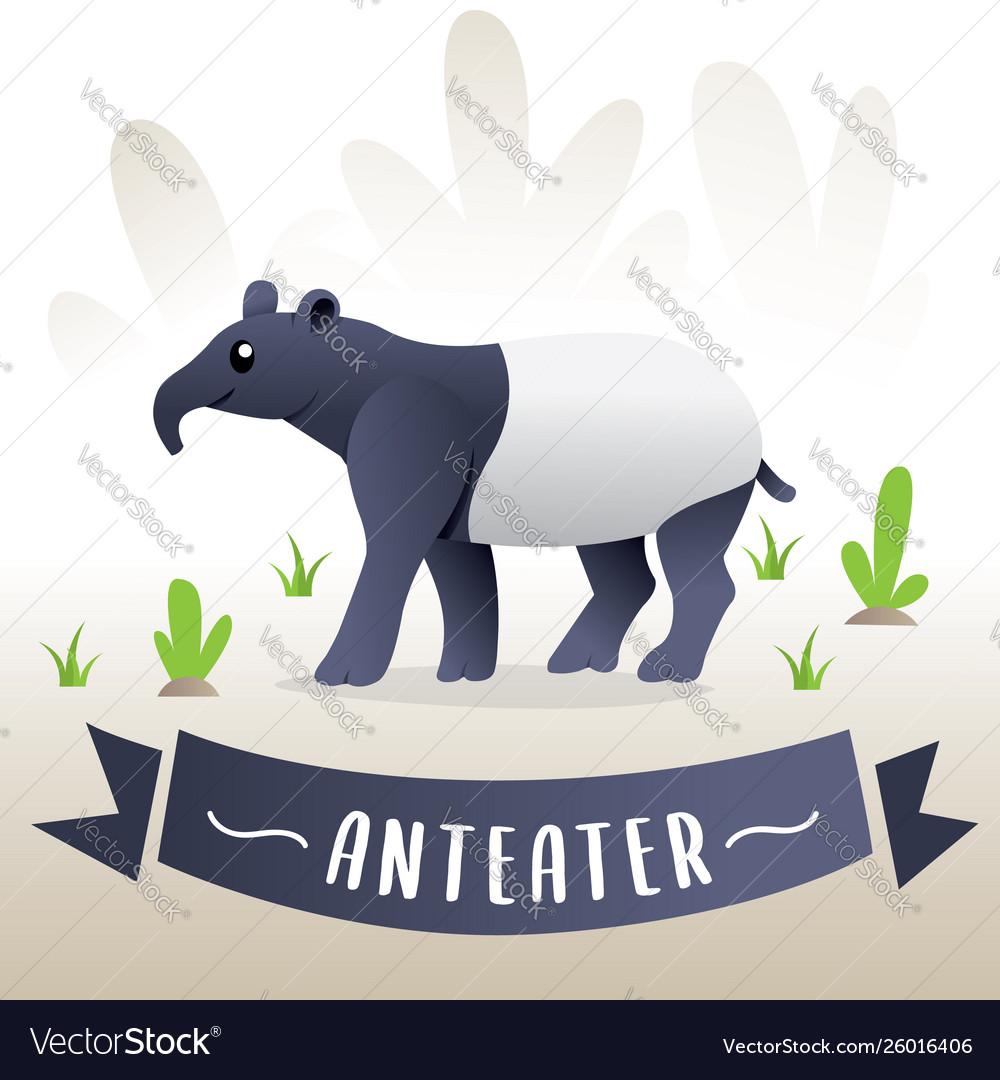 Cute cartoon anteater