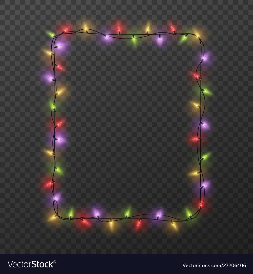 Frame with light garland christmas square border