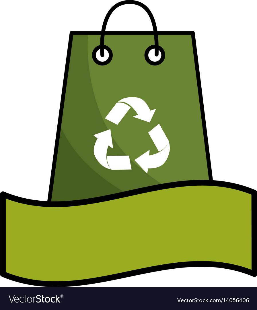 Green bag with recycling symbol and ribbon vector image