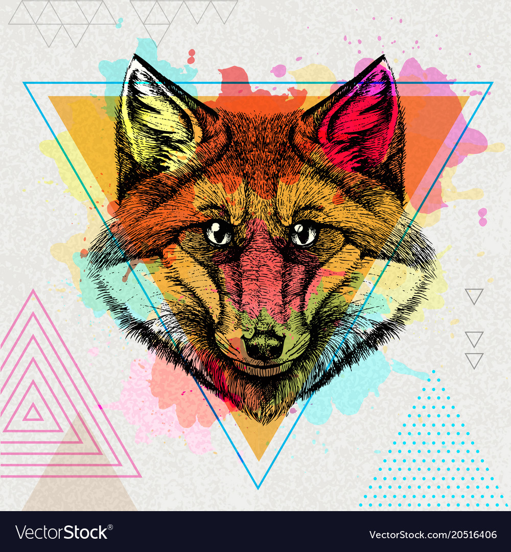 Hipster animal fox on artistic polygon watercolor
