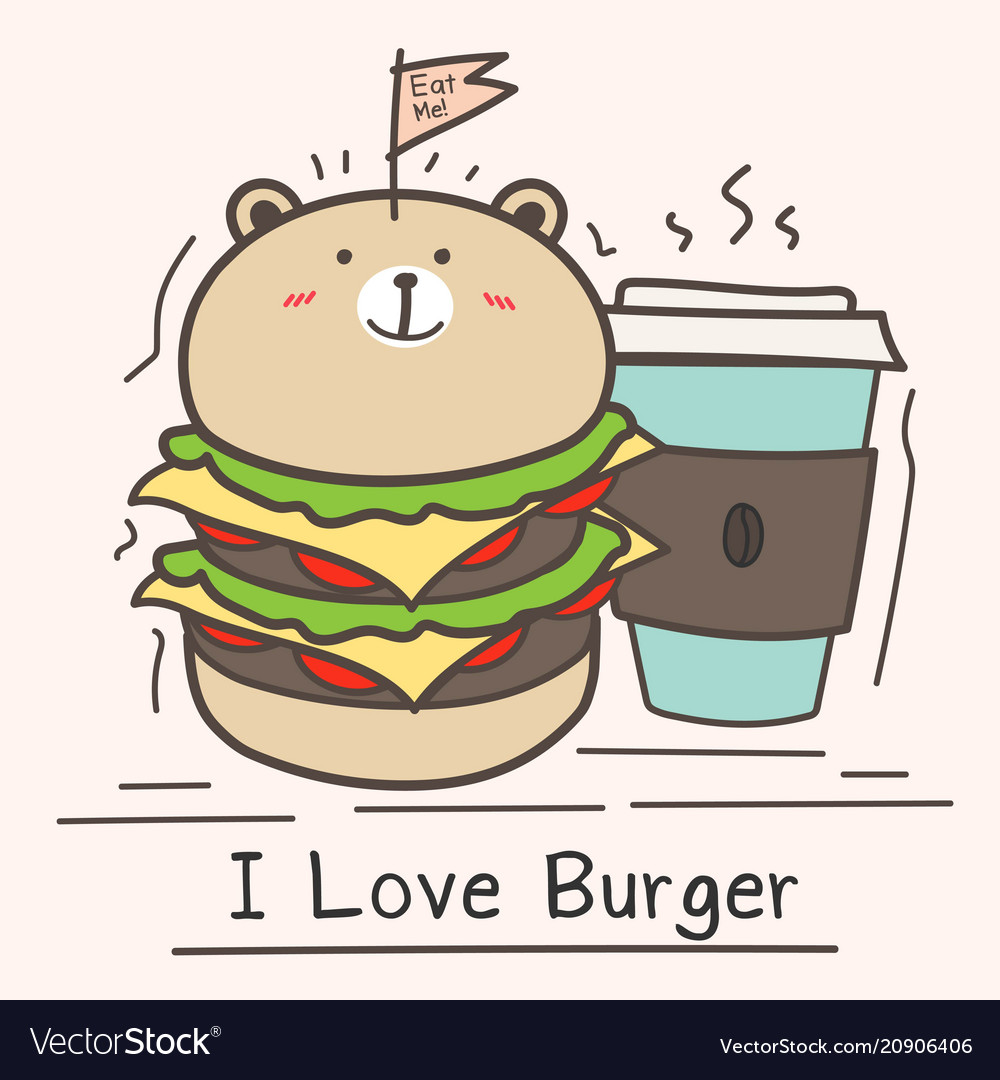 I love burger concept with cute bear burger