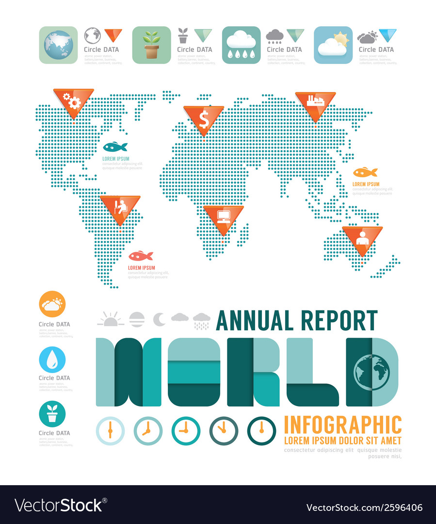Infographic annual report world template