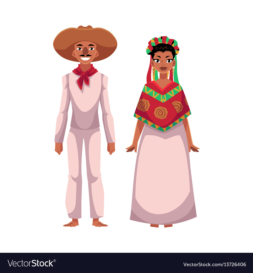 Mexican man and woman in traditional casual