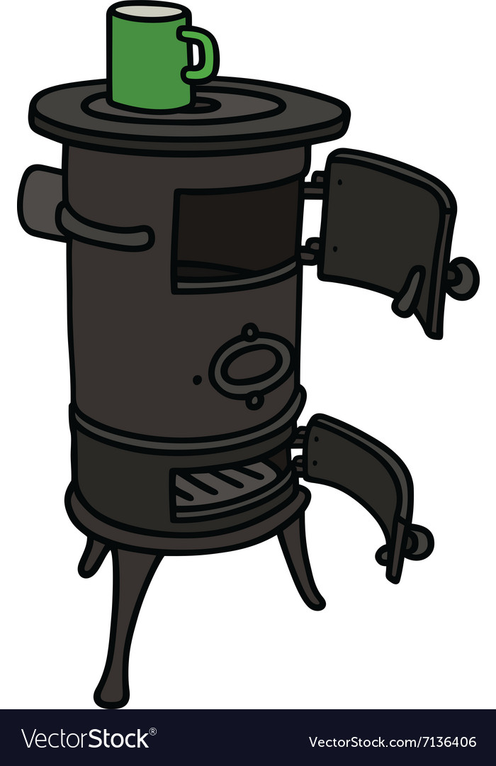 Old stove with a pot vector image