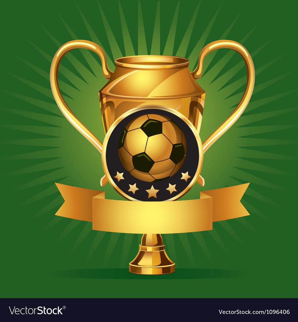 Soccer golden award trophy and medal