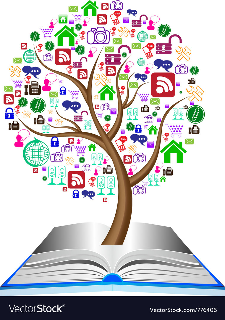 Social media icons set in tree shape vector image