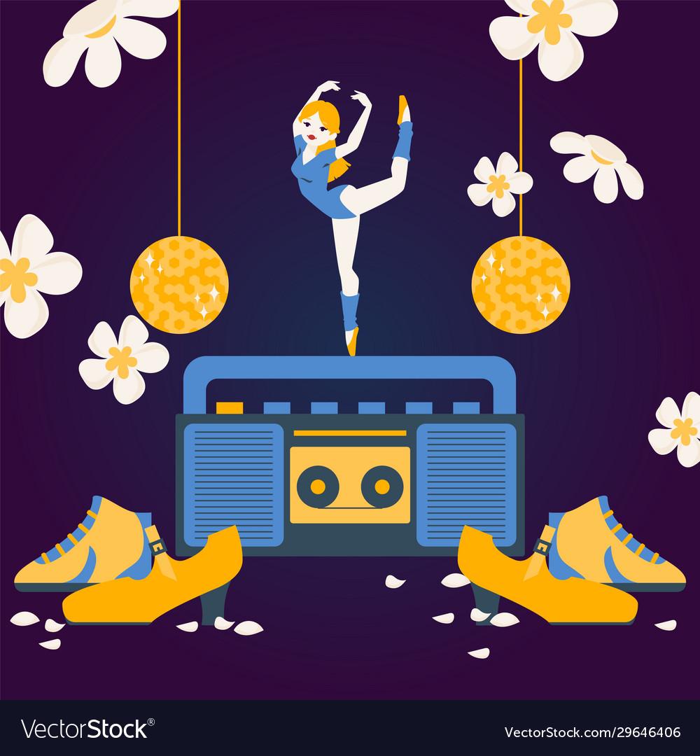 Woman dancing on tape recorder ballerina cartoon