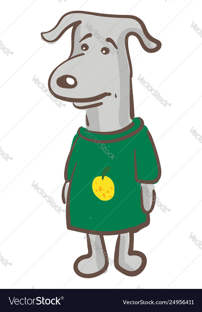 A sad dog in green-colored t-shirt or color