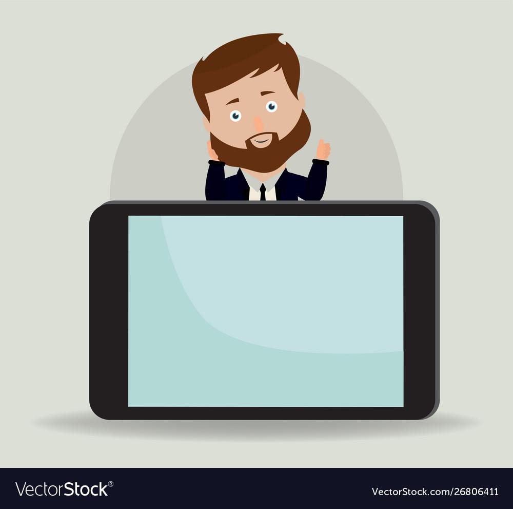 Businessman showing something on smartphone