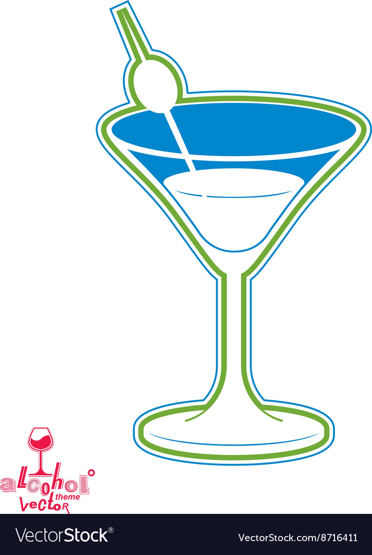 Cartoon Martini Glass With Olive Berry Royalty Free Vector