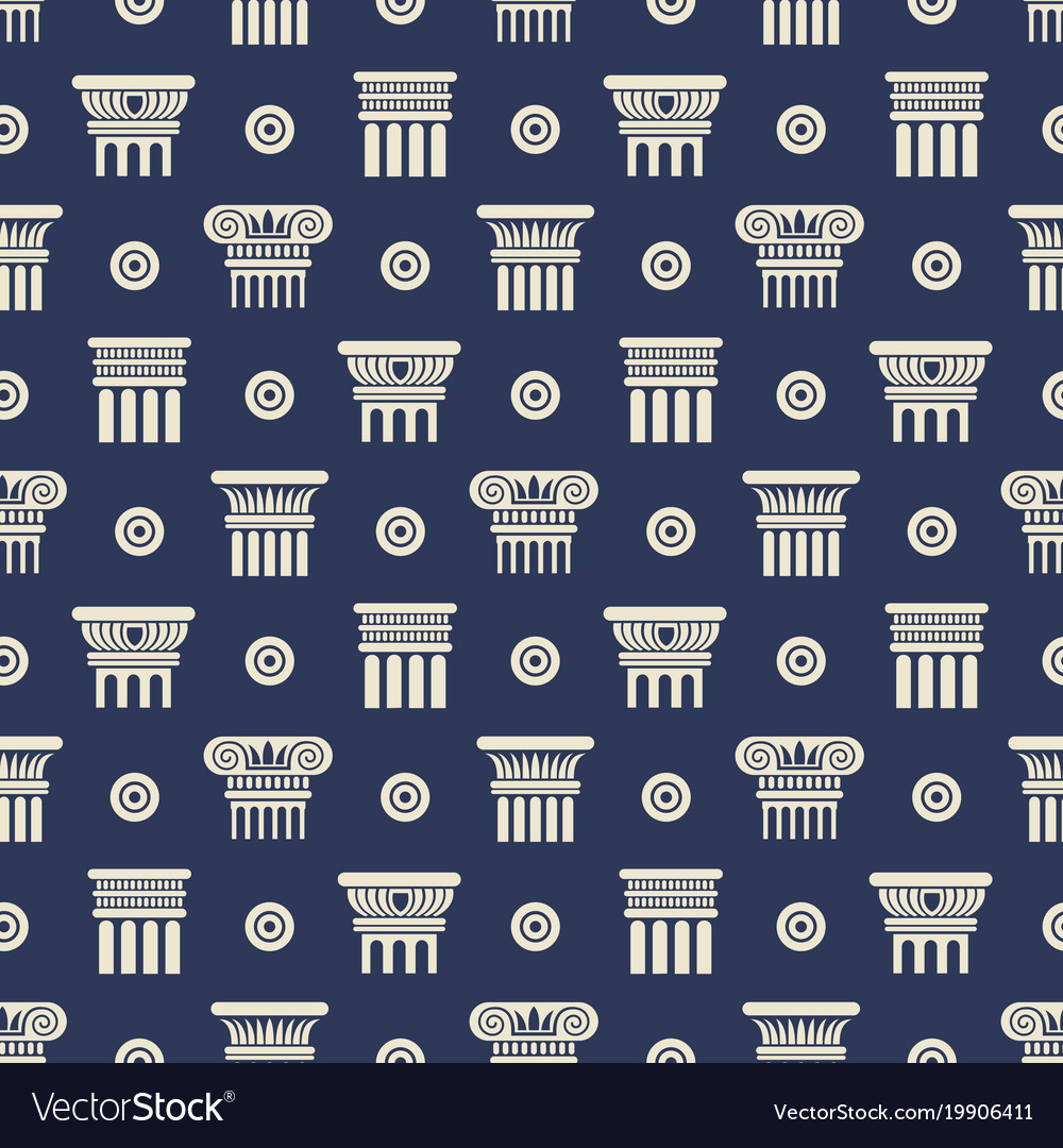 Greek and roman ancient columns seamless pattern