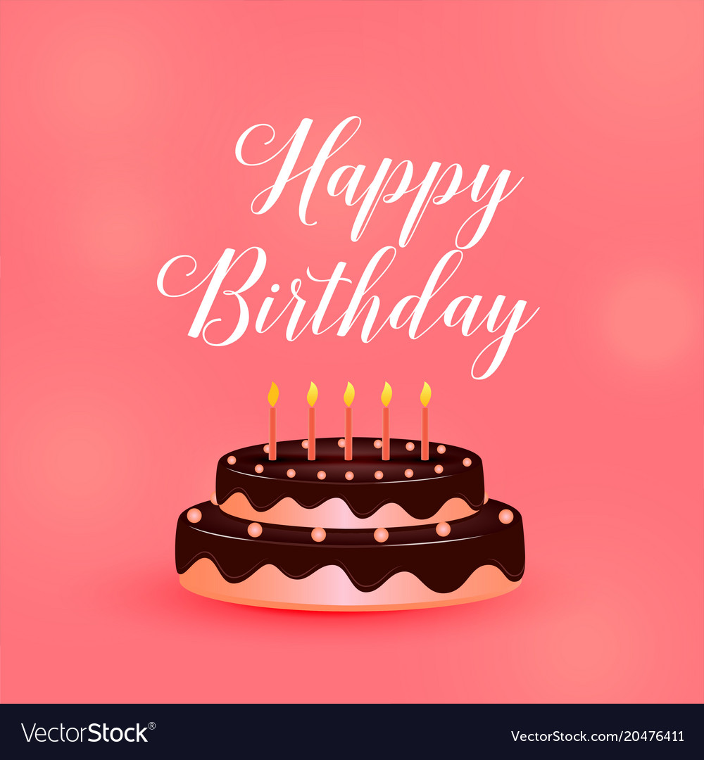 Happy Birthday Celebration Cake With Candles Vector Image