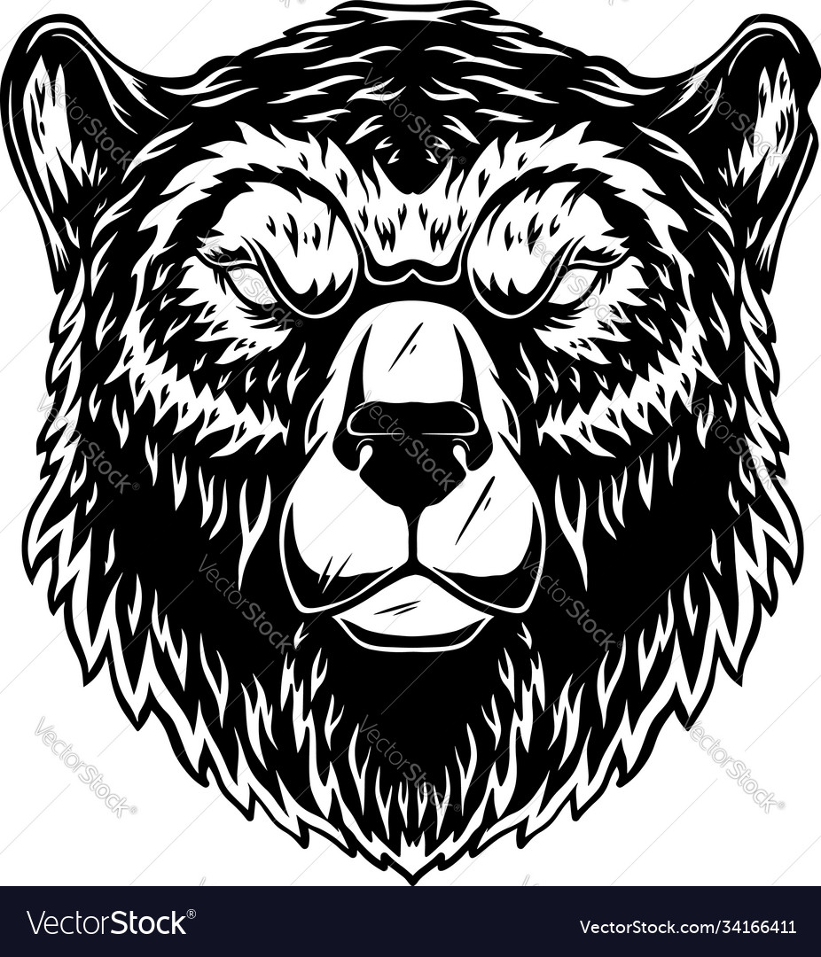 Head grizzly bear in vintage monochrome style