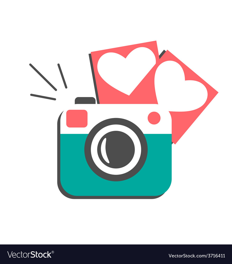Love flat photo camera with hearts photo frames Vector Image