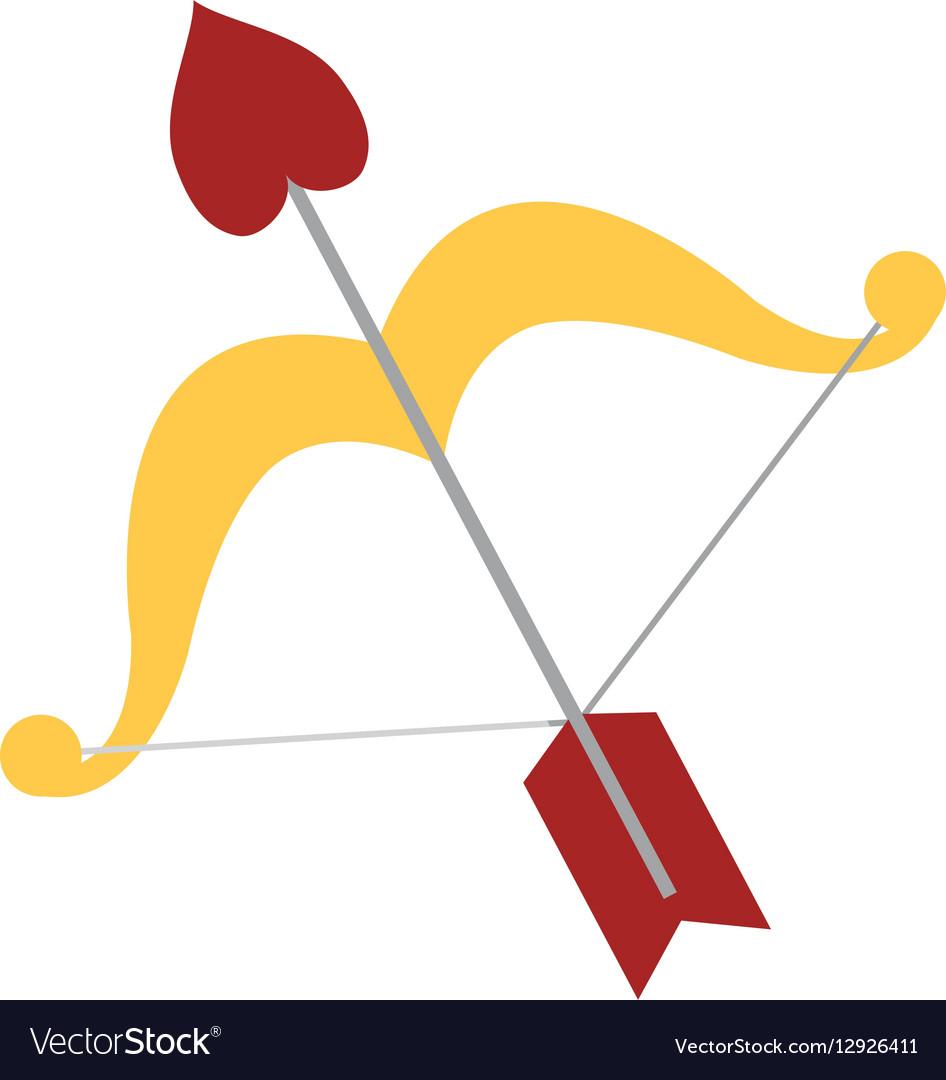 Lovely bow arrow heart love vector image
