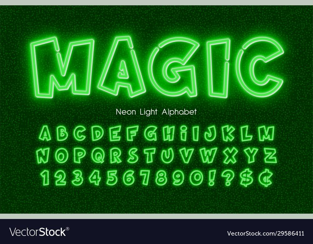Neon light 3d alphabet extra glowing comic style