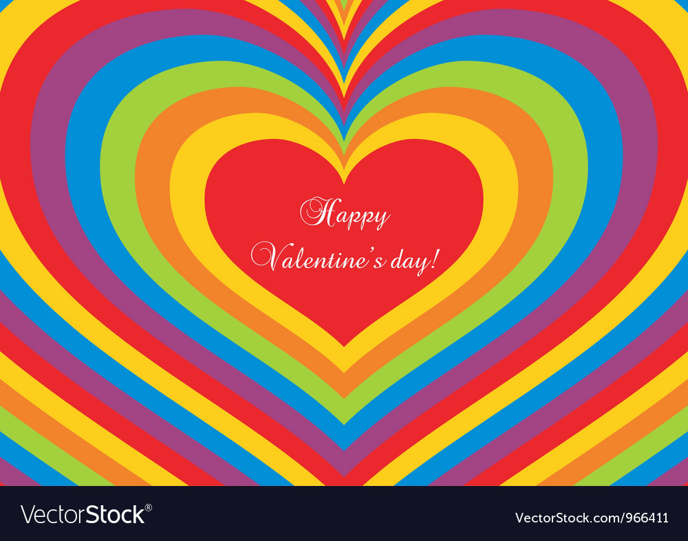 Psychedelic heart Valentines day postcard
