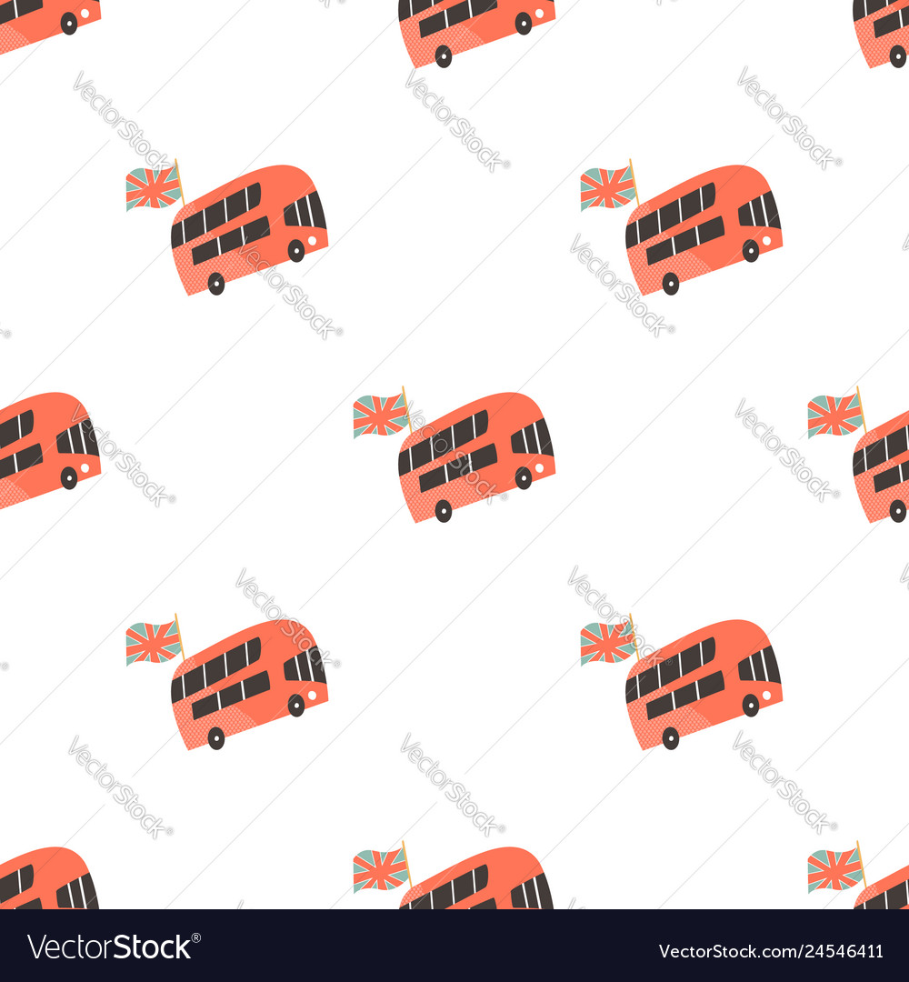 Seamless pattern with london double-decker buses