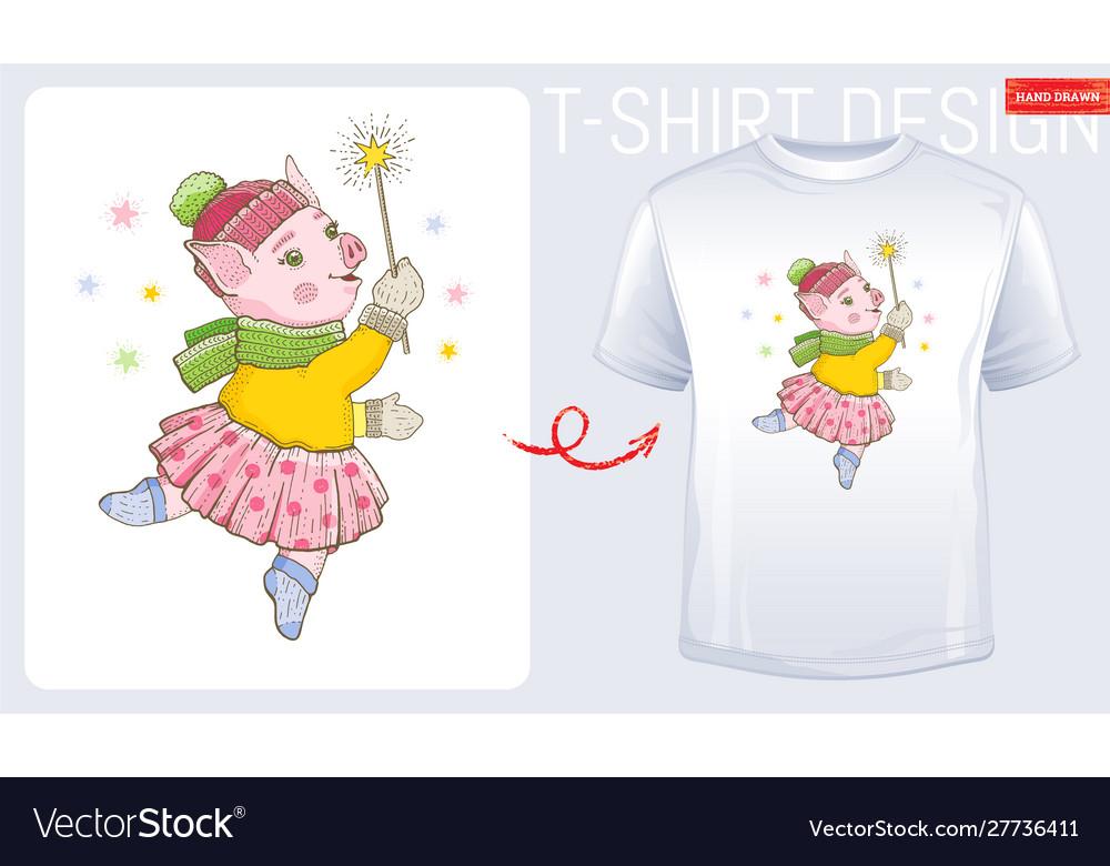 Winter pig t-shirt print design cute cartoon for