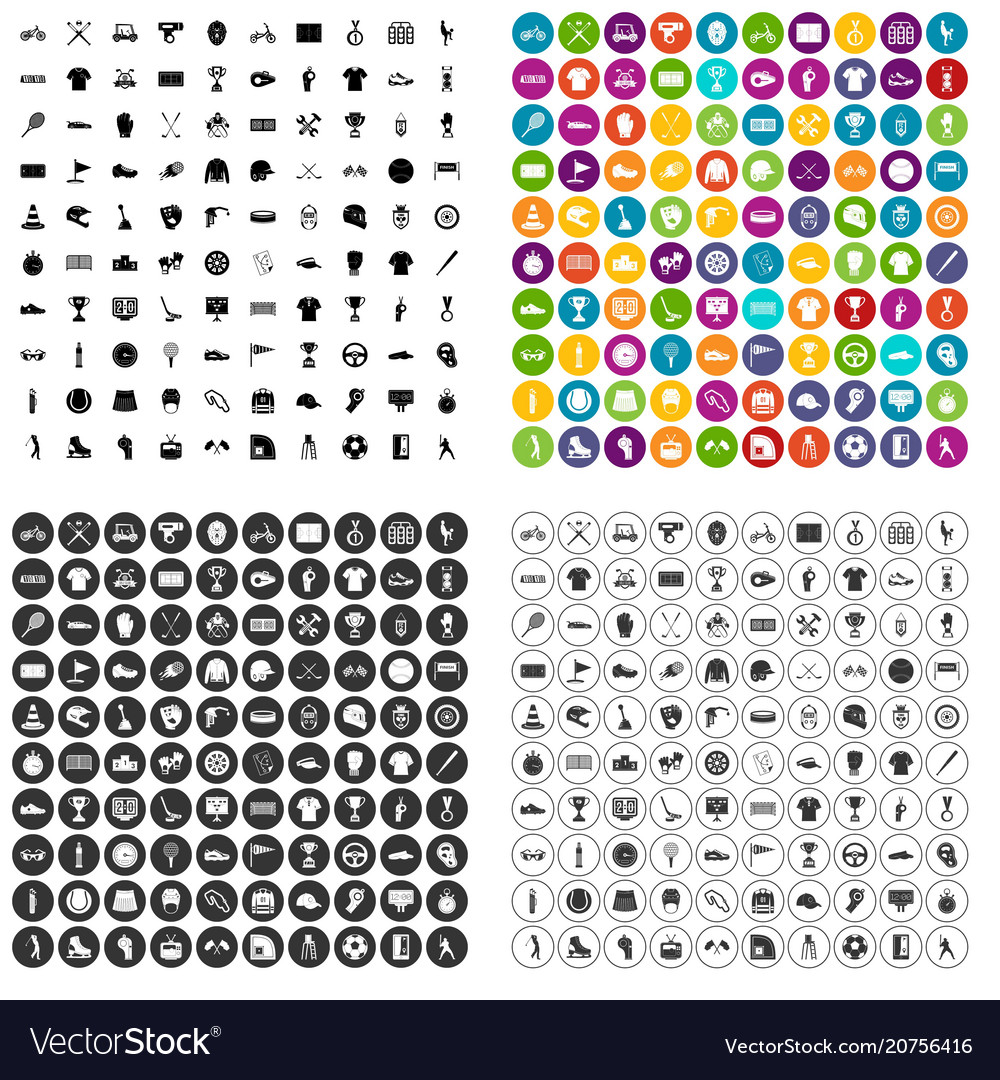 100 sports competition icons set variant
