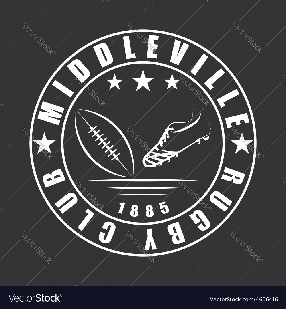 American football or rugby ball and boot emblem