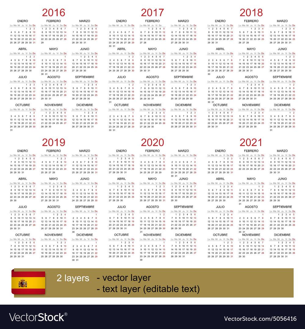 Calendar 2016 2021 Royalty Free Vector Image   VectorStock