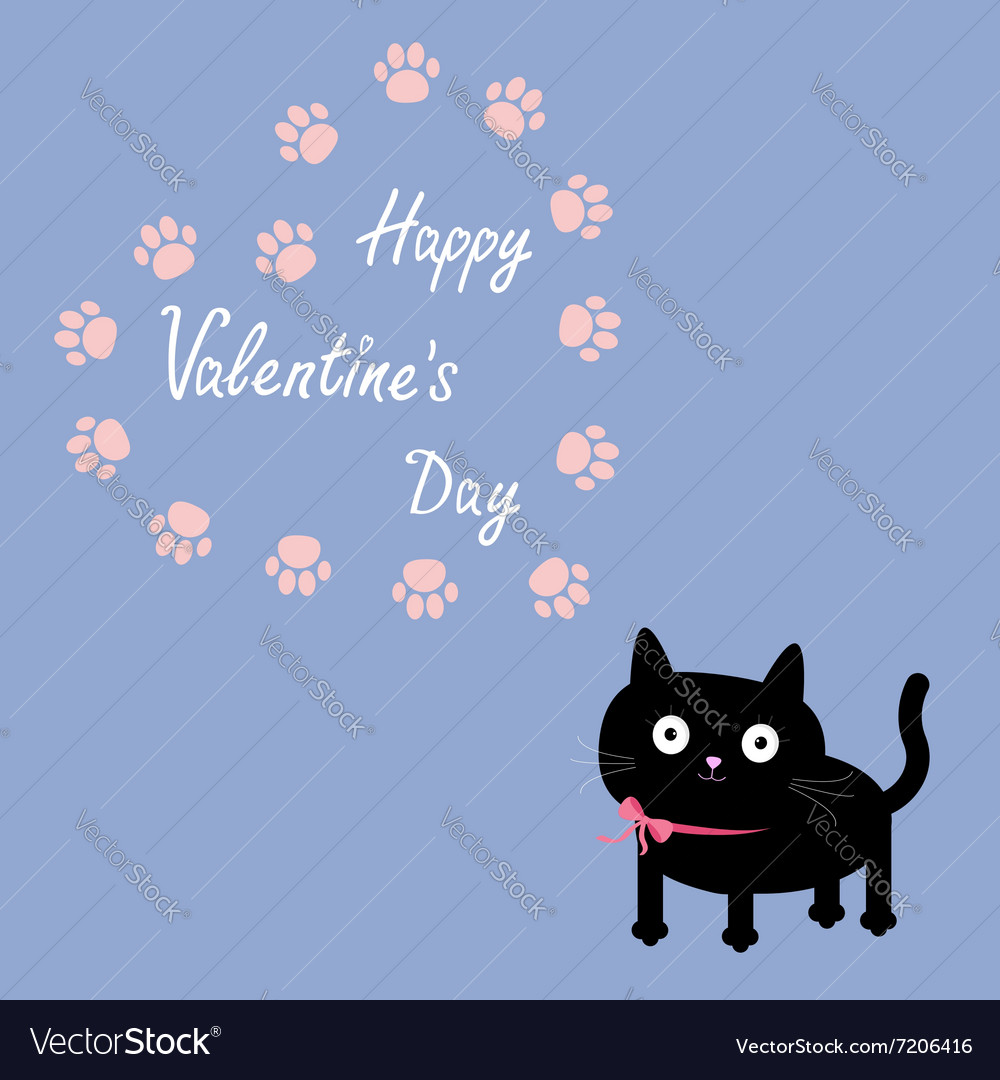 Cat and paw print heart frame template Flat