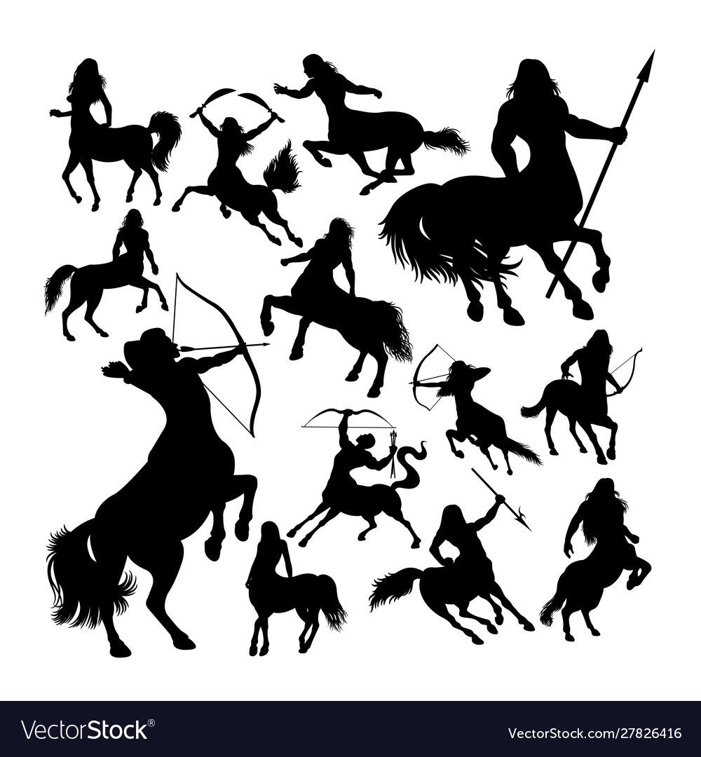 Centaur ancient creature mythology silhouettes