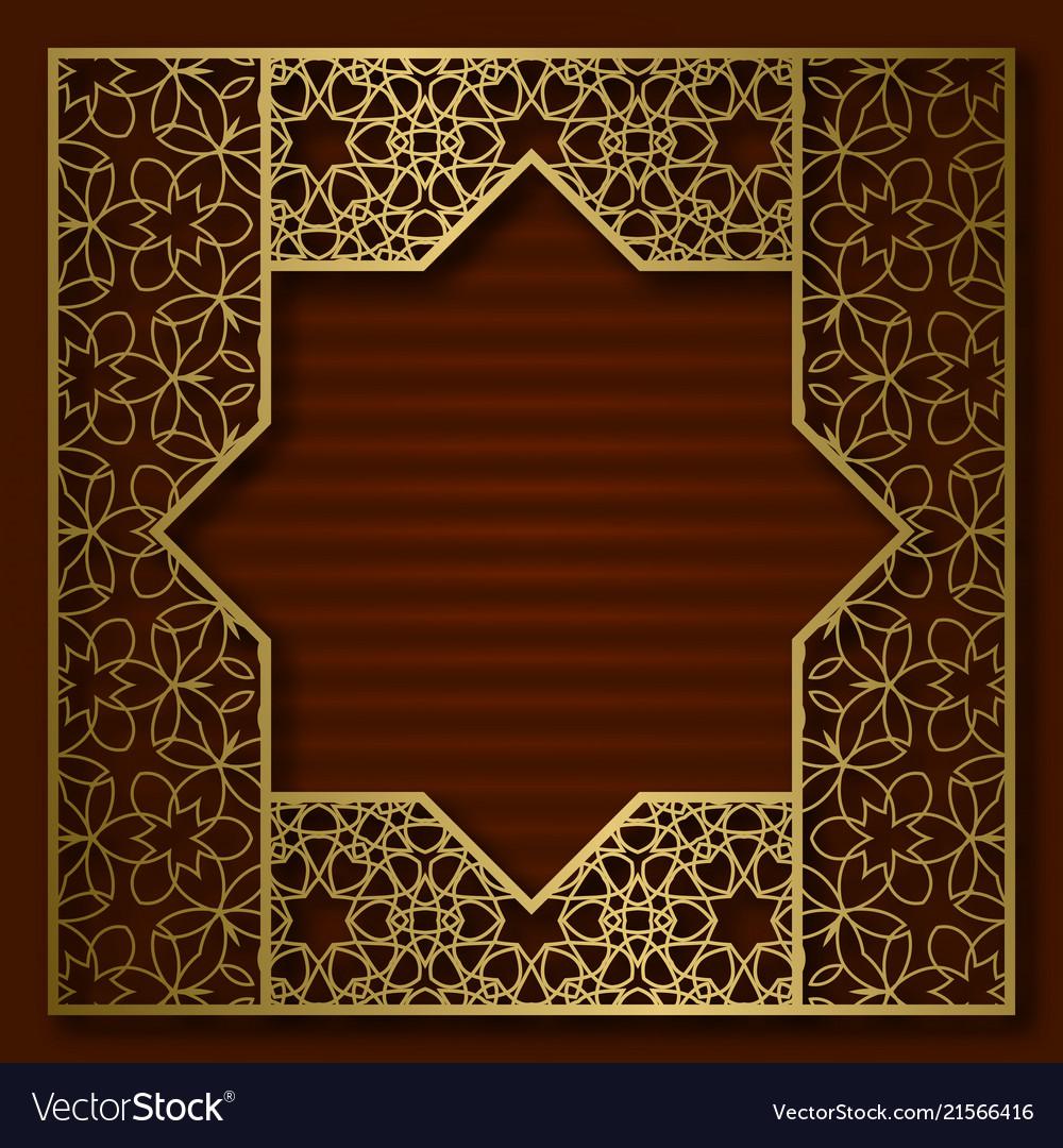 Golden cover patterned square frame
