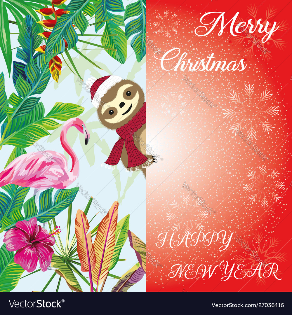 Merry christmas sloth peeps out tropical