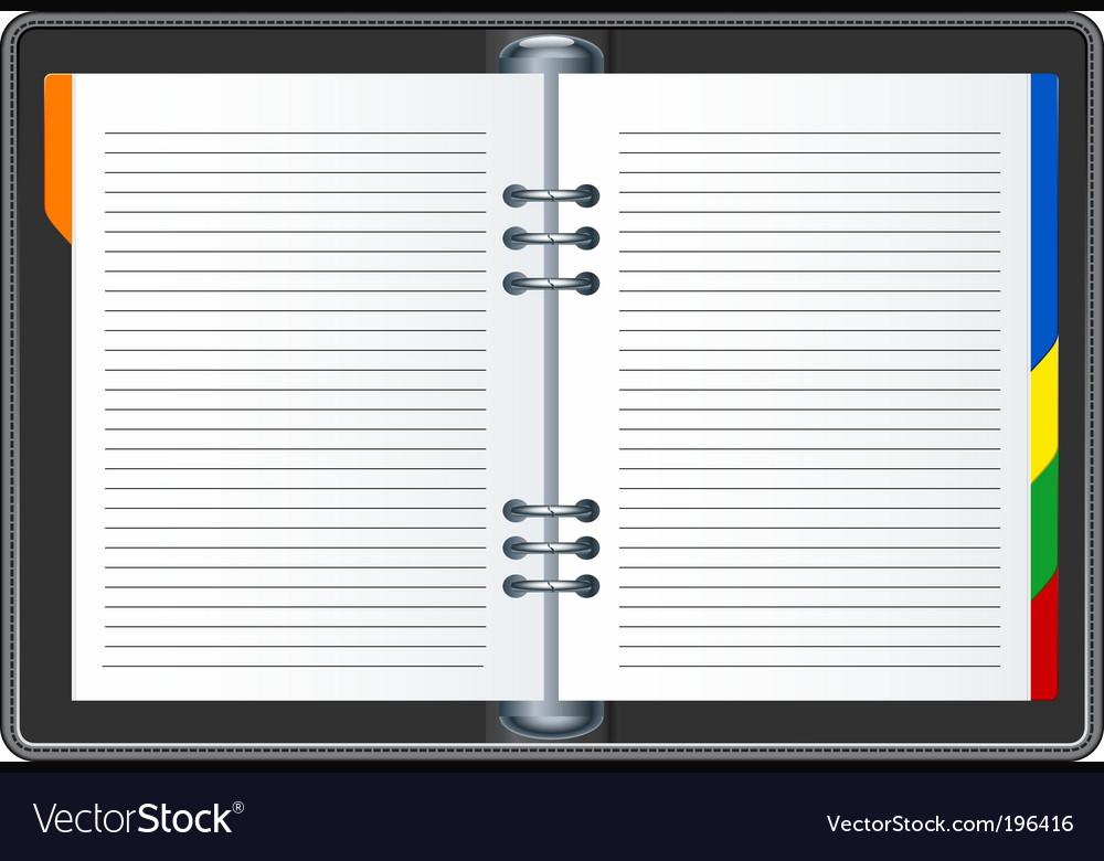 Organizer book vector image