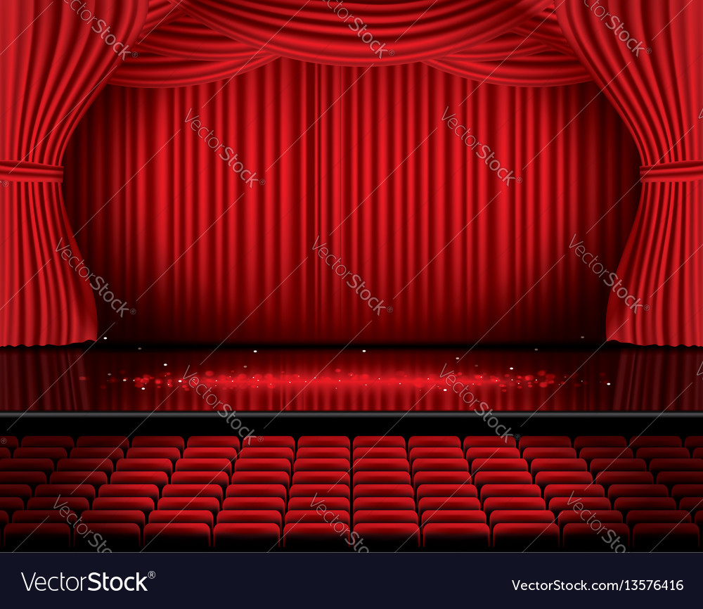 Red stage curtain with seats and copy space