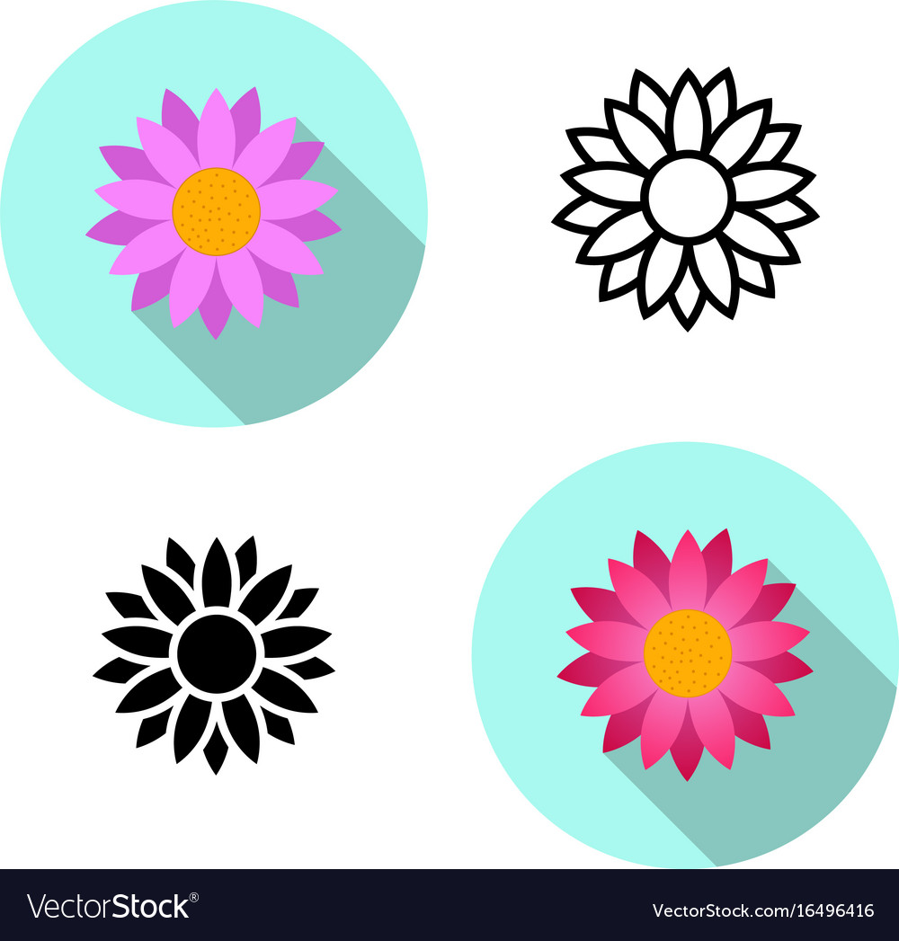 Set of lotus flower icons in flat style