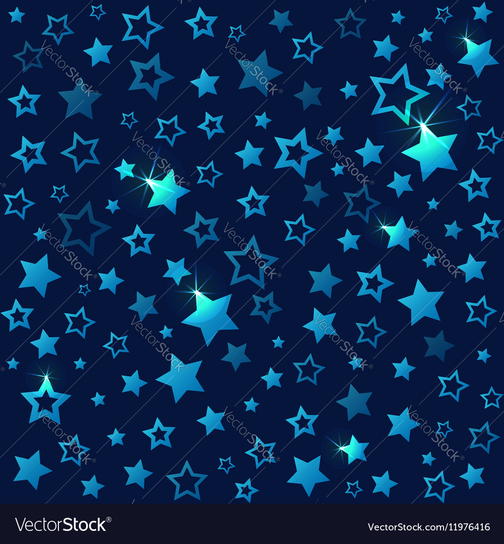 Shining stars seamless pattern Dark starry sky vector image