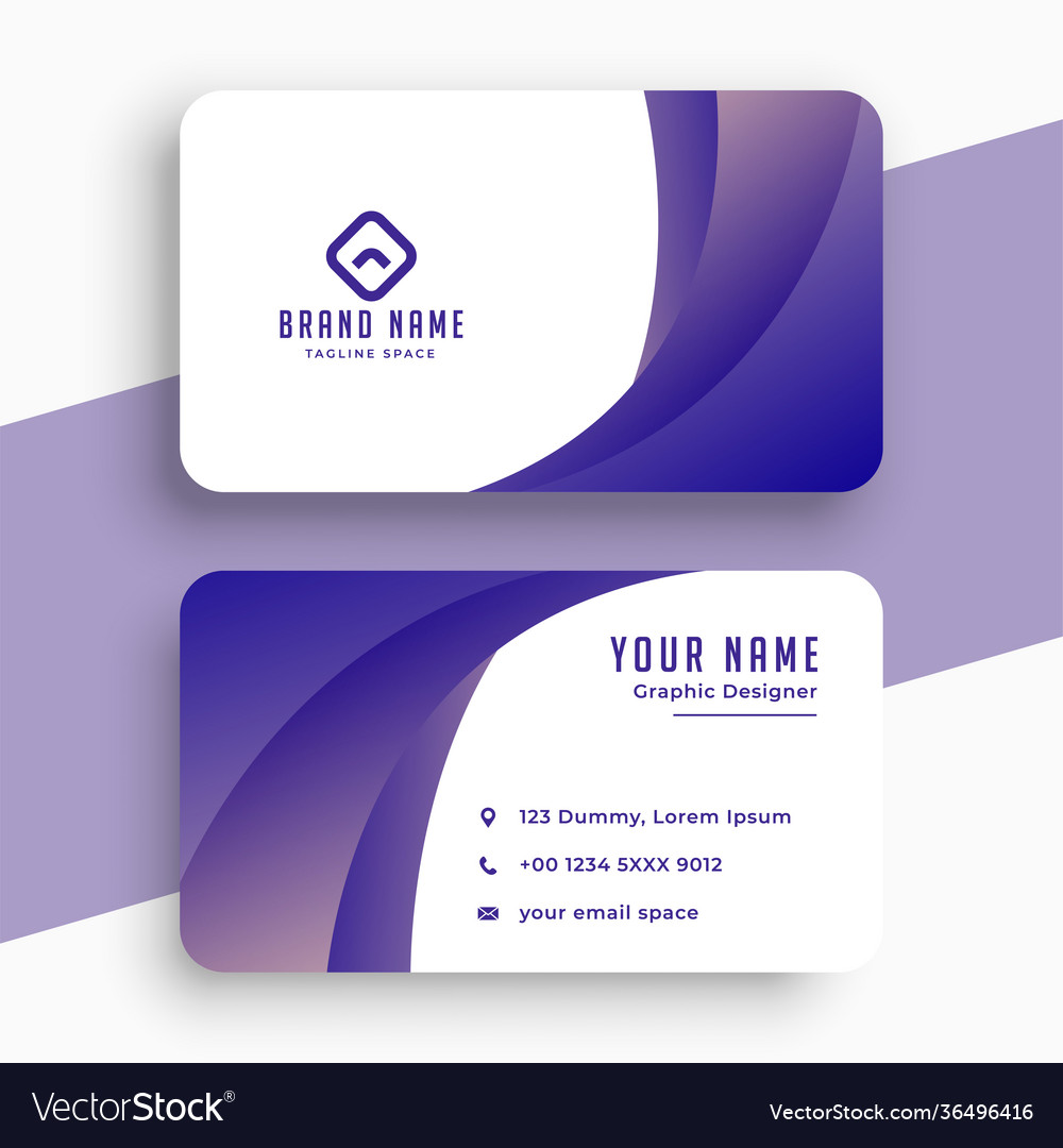 Stylish purple business card with wavy shape vector