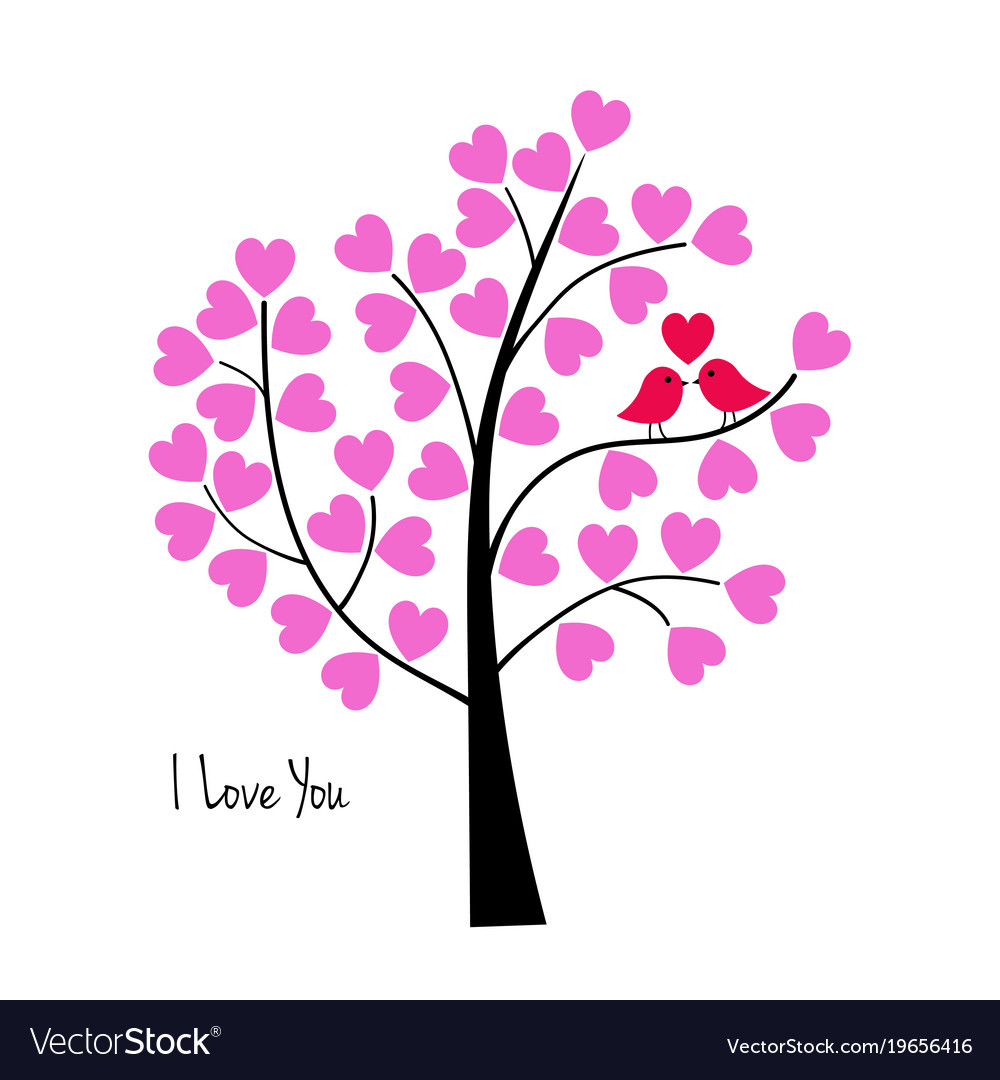 Valentines Day Birds In Tree Royalty Free Vector Image